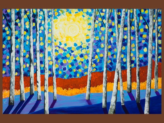 "Abstract large landscape paintingHeavy Texture Palette Knife Trees Wall Decor ""Moon Night at Birch Grove"" by QIQIGALLERY"