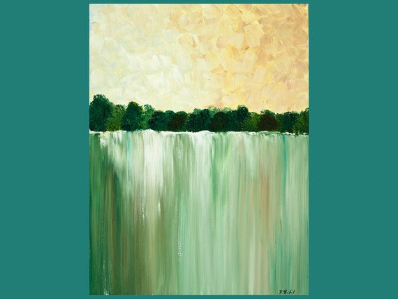 "Original Modern Abstract Heavy Texture Impasto Acrylic Painting ""The Falls"" by QIQIGALLERY"