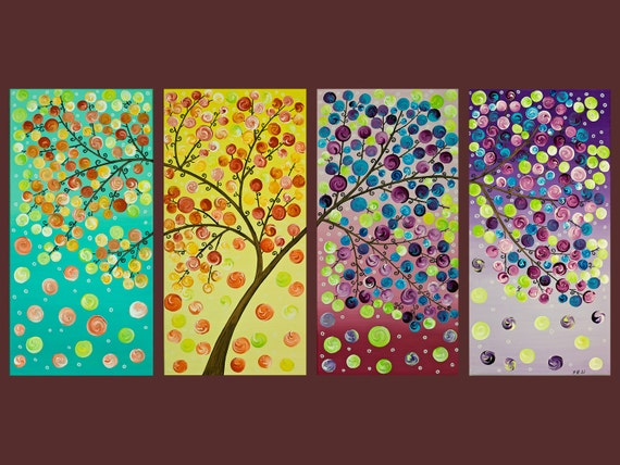 """Reserved For Jenna -Original Modern Abstract Heavy Texture Impasto Acrylic Painting Landscape """"The Magic Tree"""" by QIQIGALLERY"""