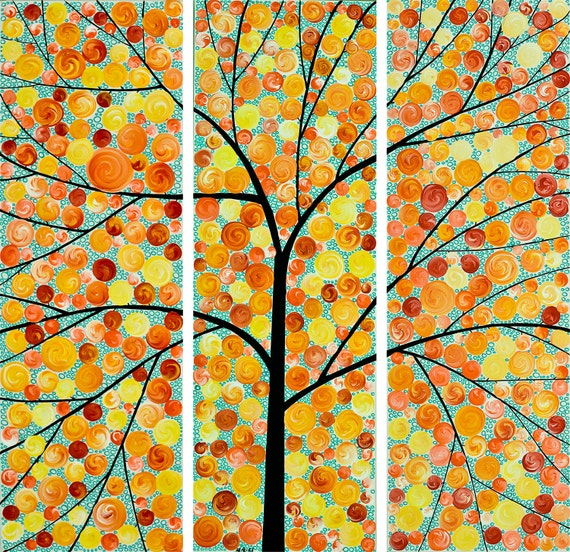 "36"" Square Art Abstract Tree painting Abstract Painting Heavy Texture Painting Impasto Painting QIQI GALLERY"