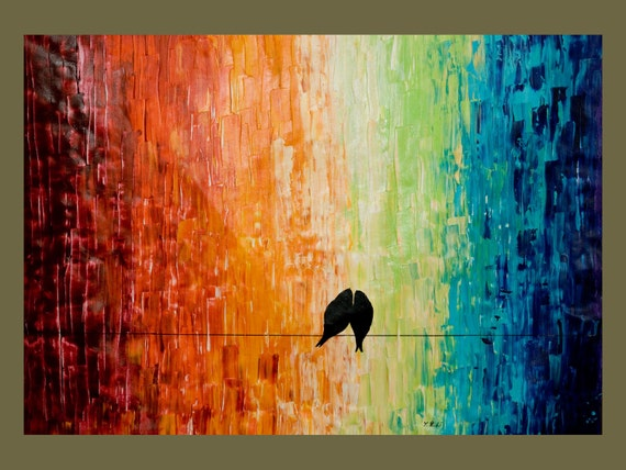 """Un-Stretched 40"""" Original Modern Abstract Heavy Texture Palette Knife Impasto Painting Love Birds Landscape Wall Decor """"Forever more"""""""