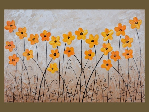 "36"" Original Modern Abstract Heavy Texture Palette Knife Gallery Canvas Painting Flower Landscape Wall Decor ""Yellow Poppies"""