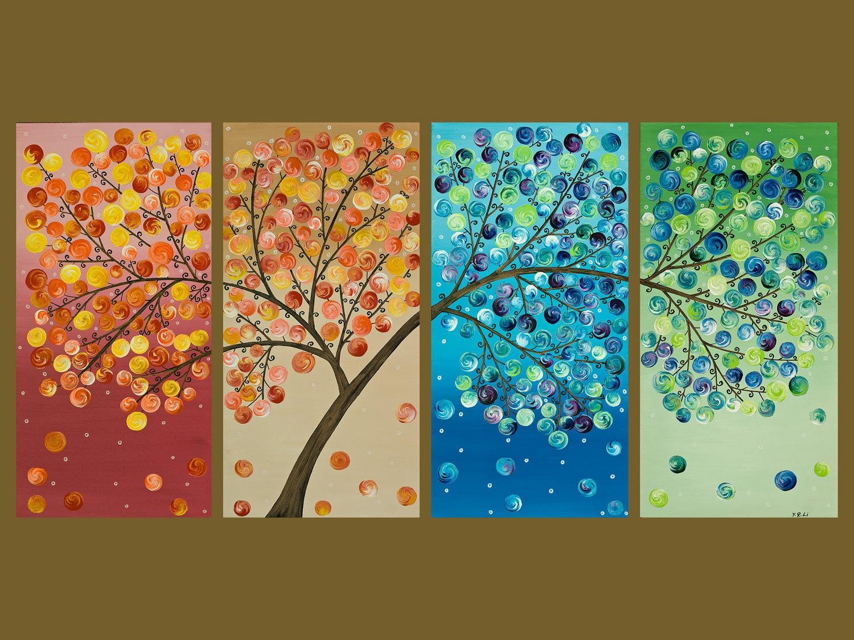 48x24 original modern abstract impasto metallic acrylic for 4 seasons mural