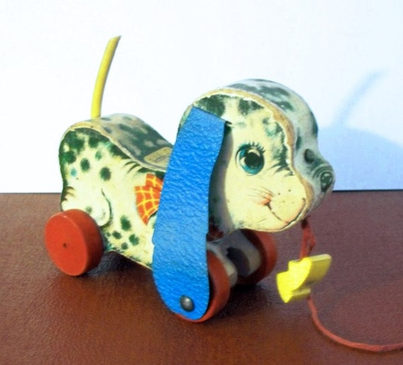 Vintage 1960s Fisher Price Playful Pup Pull Toy 626