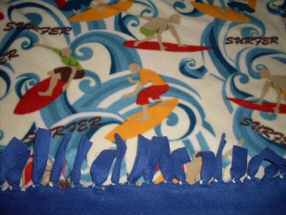 Fleece Blanket - Surfer Dudes Tied Fleece Blanket