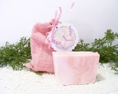 Victorian Rose scented goats milk soap in a handmade pink bag PIF