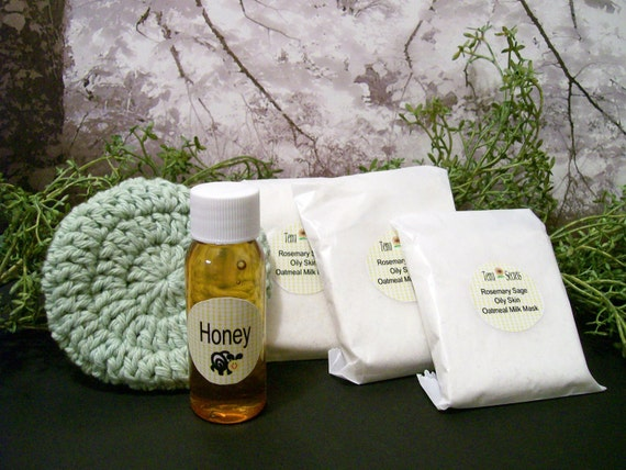 Cleansing grains Face Mask set Rosemary Sage
