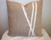"Linen pillow cover Modern natural stripes Cottage throw pillow 16""square Sustainable"