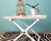 60s White HOLLYWOOD REGENCY Folding X Base TRAY TABLE