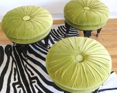 60s Modern Trio of HOLLYWOOD REGENCY Button Tufted Ottoman