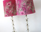50s Vintage Stacked CUT CRYSTAL BALL Pair of Lamps
