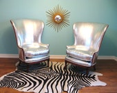 Vintage HOLLYWOOD REGENCY Pair SILVER Wingback Mid Century Lounge Chairs