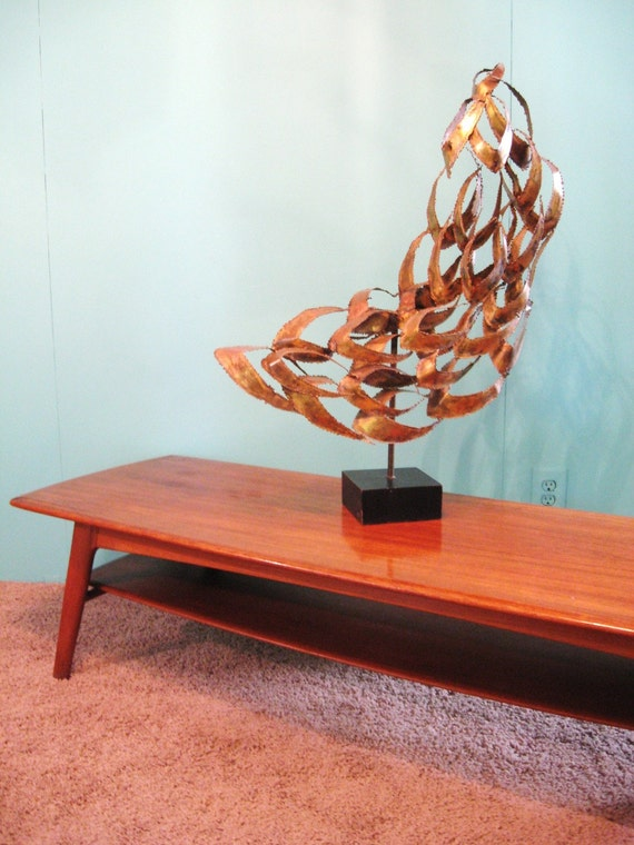 60s danish modern vintage teak wood surfboard coffee table for 60s coffee table