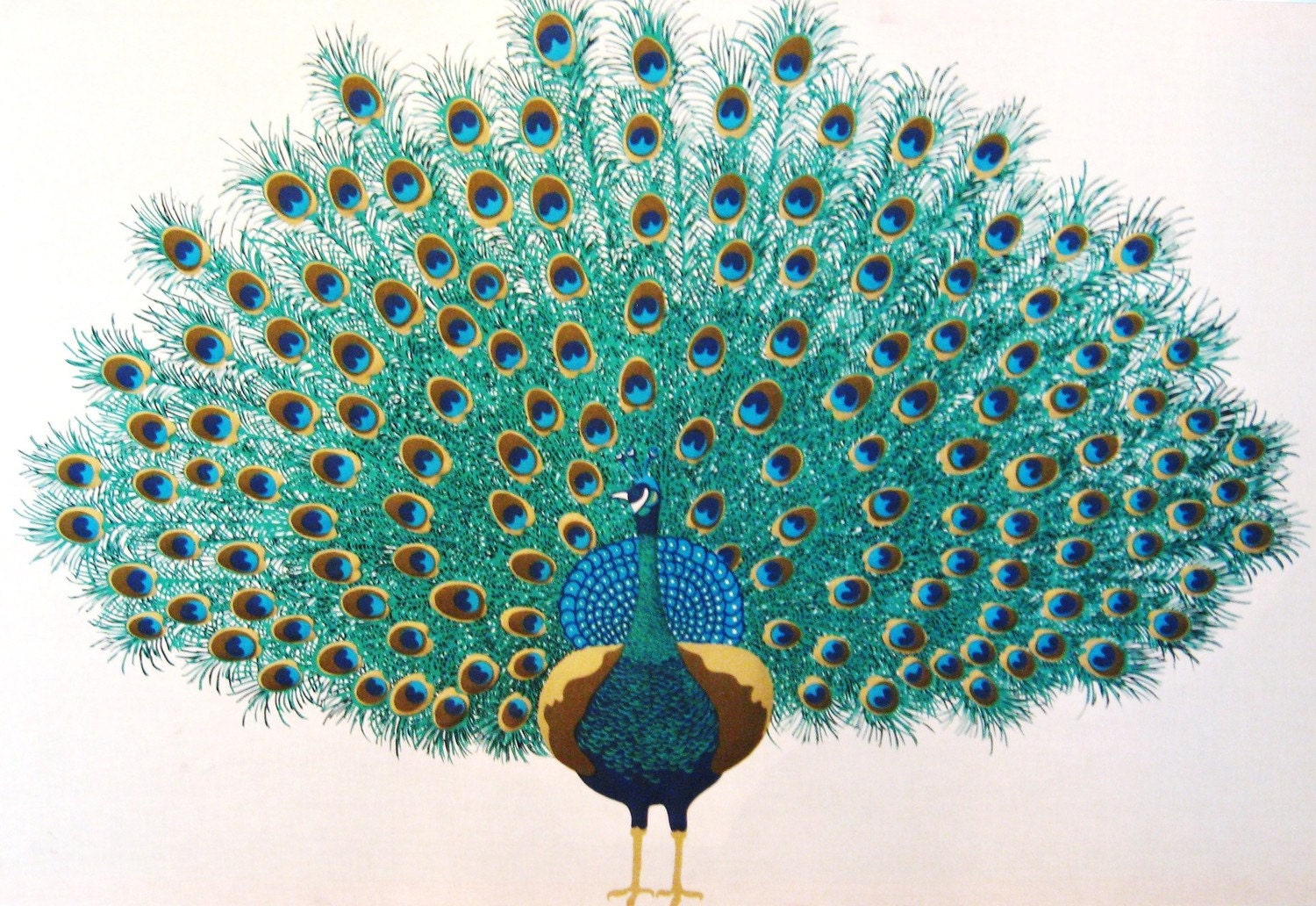Vintage hollywood regency screen printed peacock by for Peacock wall art