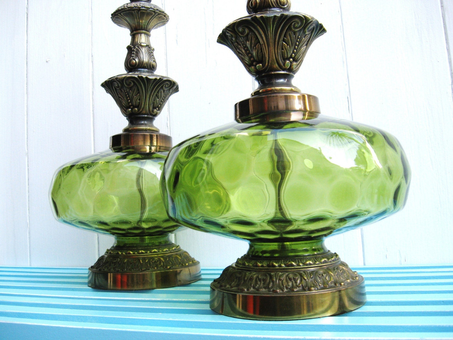70s emerald green pair of vintage table lamps by fabulousmess. Black Bedroom Furniture Sets. Home Design Ideas