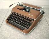 RESERVED FOR JAMIE Antique Olympia Typewriter, Two-Toned Brown