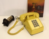 Vintage Push Button Phone, Telephone, Yellow, Retro