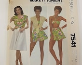 Vintage 80s Sewing Pattern, Top, Culottes, Bathing Suit Bra, Size 12, Bust 34
