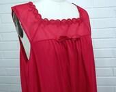 Vintage 60's Summer Nightie, Night Gown, Vanity Fair, Size Large, Red/Pink