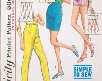 Simplicity Sewing Pattern 5973,  Misses Jamaica Shorts, Vintage 1960's