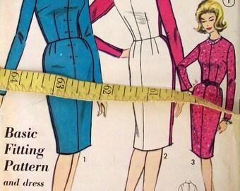 Vintage 50s Sewing Pattern, Sheath Dress, Size 20