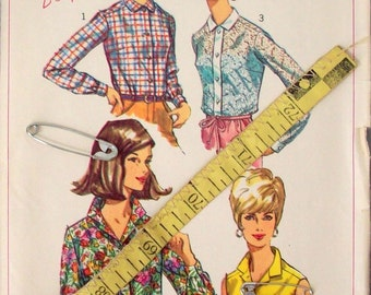 Vintage 60s Sewing Pattern, Blouses - Size 16, Bust 36