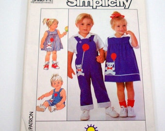 Vintage 80s Sewing Pattern , Toddlers Overalls, Dress, Jumper and Shirt, Size 3
