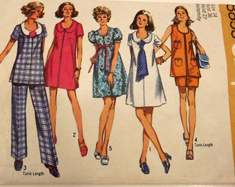 Vintage 70s Sewing Pattern, Maternity Pants, Dress or Tunic, Size 14, Bust 36