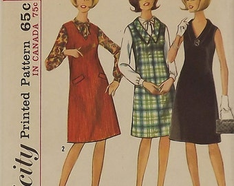 Vintage 60's Sewing Pattern, Dress or Jumper and Blouse, Size 13, Bust 33