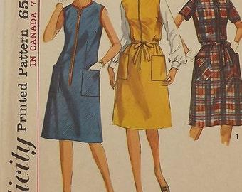 Vintage 60's Sewing Pattern, Dress or Jumper, Size 16 1/2, Bust 37