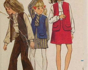 Vintage 60s Sewing Pattern, Girls Dress, Blouse, Skirt, Size 8
