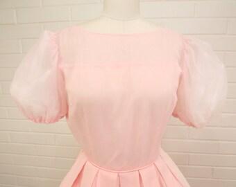 Vintage 50's Blush Pink Party Dress, Full Skirt, Wedding, Prom, Ballroom Dancing