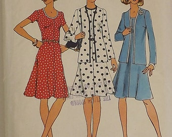 Vintage 70's Sewing Pattern, Dress and Cardigan, Size 14, Bust 36
