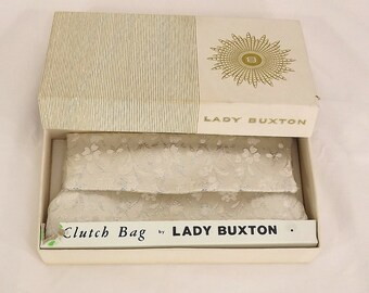 Vintage 60's Clutch Bag, Lady Buxton, Silver Metallic and Satin, Original Box, Madmen