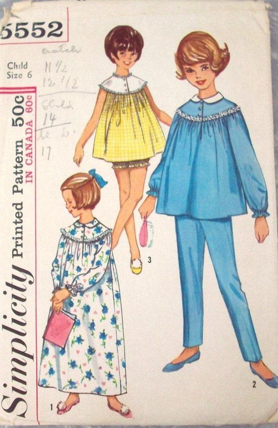 Vintage 60s Sewing Pattern, Children's Pajama, Size 6