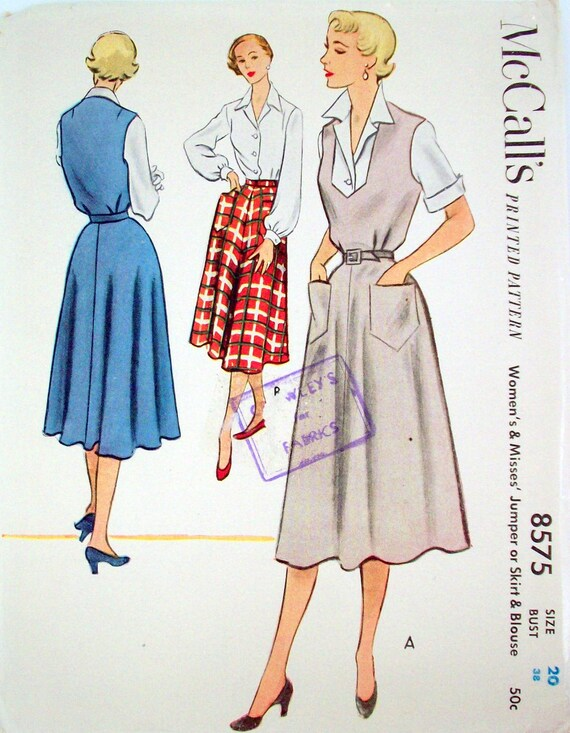 Vintage 50's Sewing Pattern, Jumper, Skirt and Blouse, Size 20