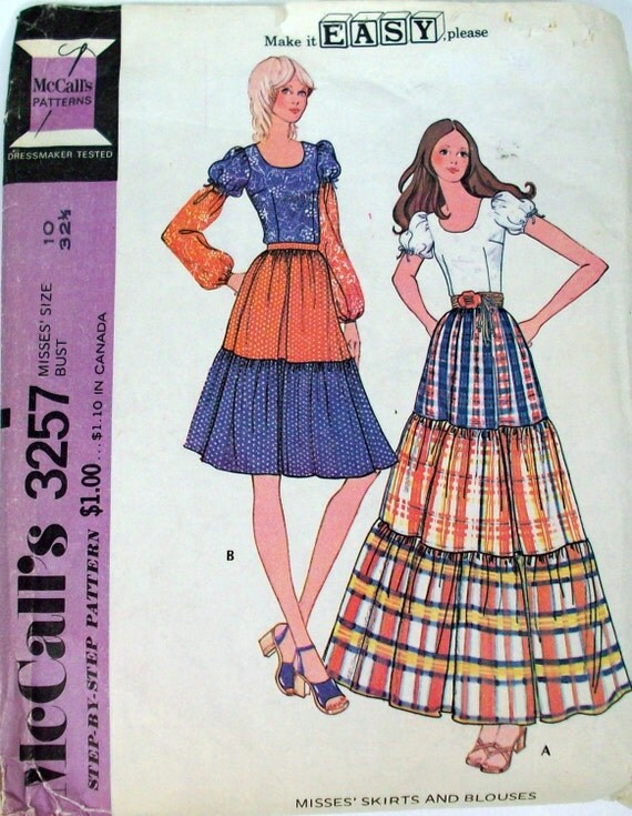 Vintage 70s Sewing Pattern, Boho Skirt and Blouse,  Sz 10