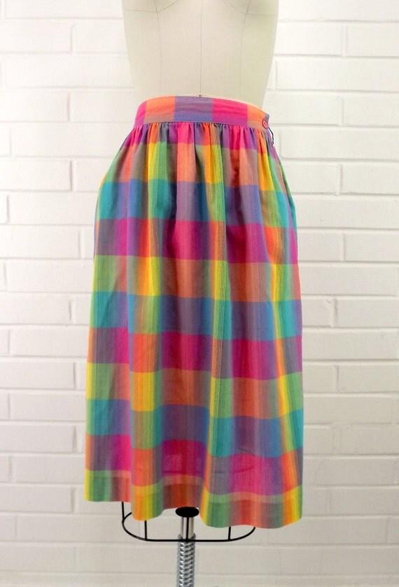 Vintage Summer Skirt, Retro 70's, Size 10, Plaid, Bright Colors