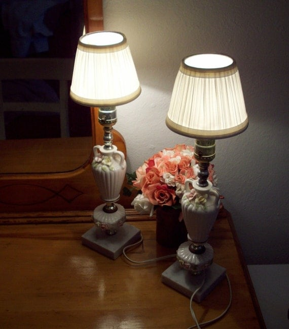 Small Nightstand Lamps With Marble Bases By