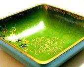 Gold and Blue and Green Hand painted square wooden bowl