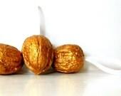 Metallic Gold Walnut Ornaments hand painted