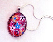 Oval Pendant hand painted Glass Tile in Silver tray w/ silver chain