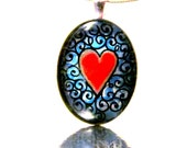 Red Heart Valentine: Hand painted Pendant