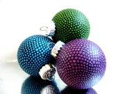 Gem Tones: Set of Glass Ornaments Hand painted three