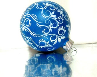 Christmas Blue and White Christmas Ornament Hand Painted Glass Ornament