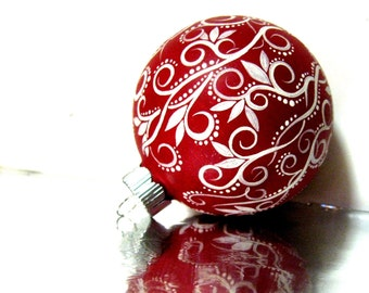 Christmas Ornament: Red and White Ornament Hand Painted Medium Glass Ornament