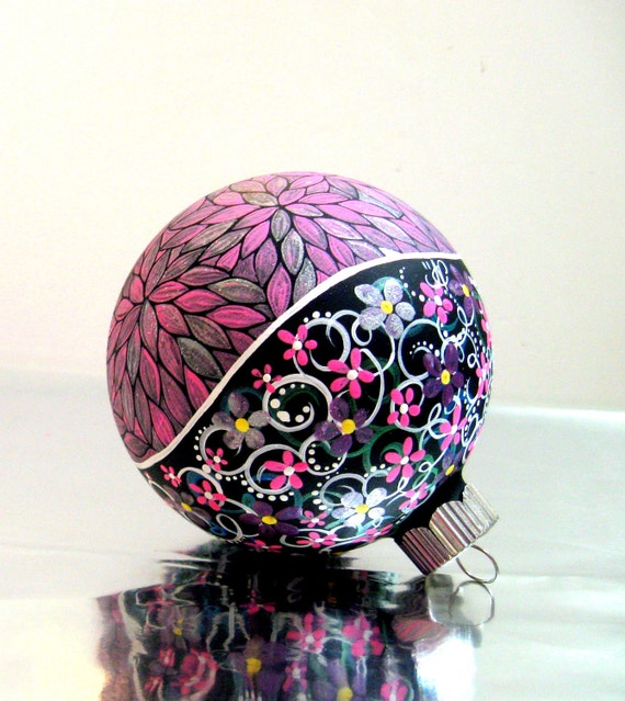 Baby Girl Pink Hand Painted Christmas Ornament Silver And