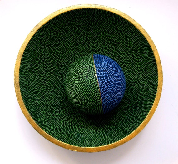 Earth Blue and Green: Hand Painted Bowl and Orb Dot painting