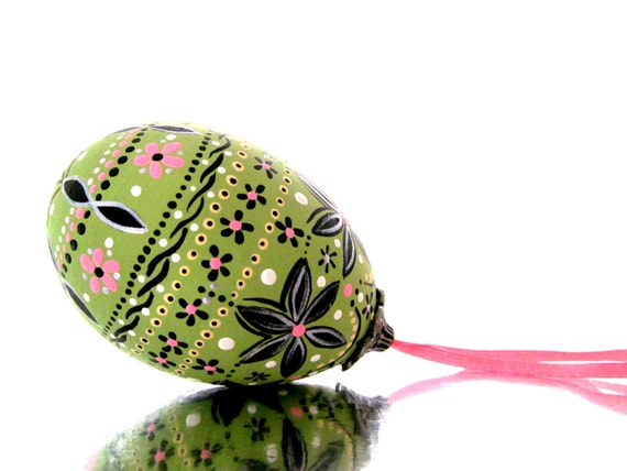 Spring Green and Pink: Hand Painted Egg Ornament