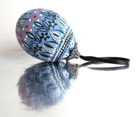 Spring Blue: Hand Painted Egg Ornament